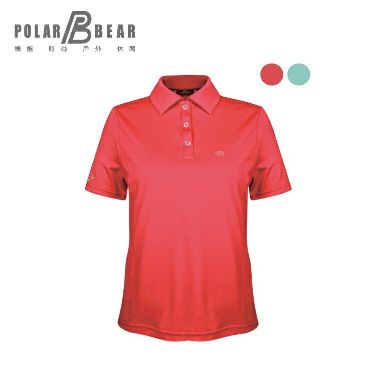 【POLAR BEAR】女吸濕排汗快乾彈性短袖開釦POLO衫 0