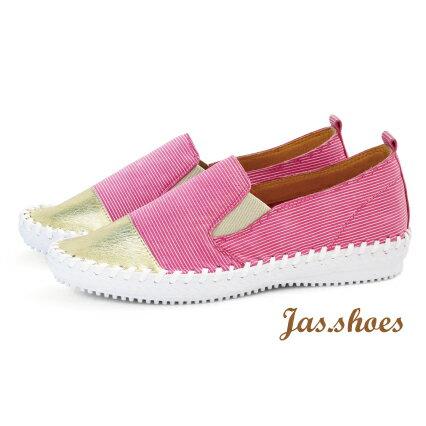 JAS shoes 角色製靴:JASSHOES【JC0631】粉紅甜心超軟綿羊皮條紋真皮低調踩腳無內裡懶人鞋平底鞋休閒鞋-洋紅條紋