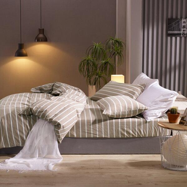 床包兩用被套組雙人加大色織水洗棉魯伯特[鴻宇]台灣製2117
