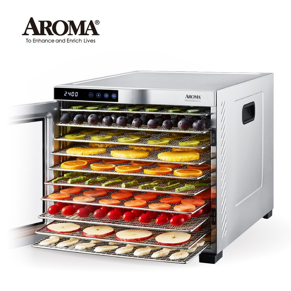 【美國最新款】美國 AROMA 十層全金屬食物乾燥機 乾果機 果乾機 AFD-925SD (送法國密封罐禮盒)