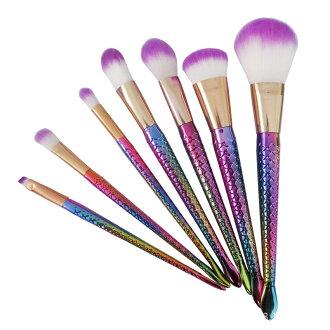 七彩美人魚 細緻觸感 化妝刷 定裝刷 化妝工具組 美妝工具 刷具 抓粉力強 一套7支