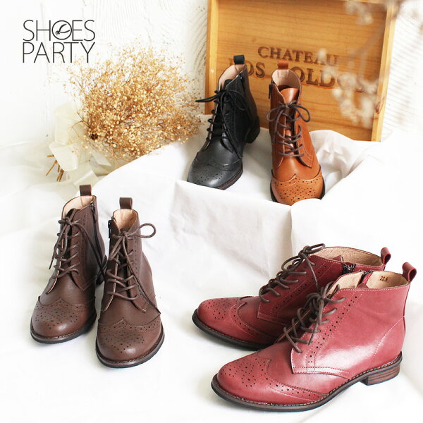 Shoes Party:【B2-18817L】真皮牛津綁帶短靴_ShoesParty