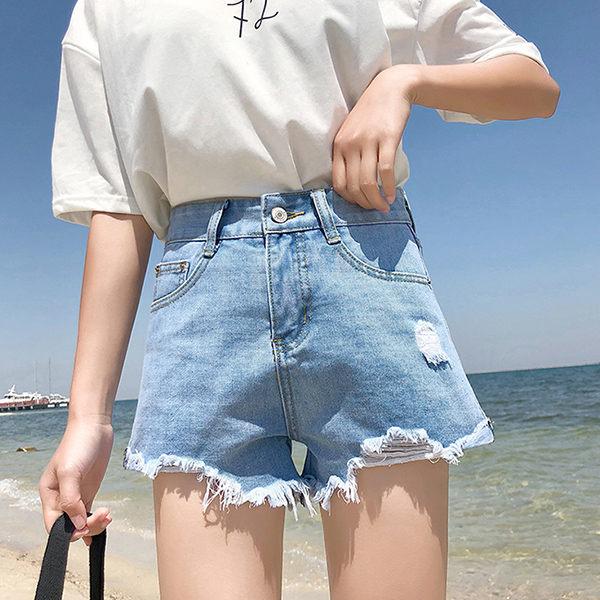 PS Mall 破洞高腰百搭短褲休閒寬口褲 短褲 褲子【T364】 0