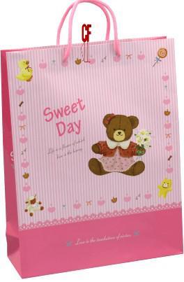 紙袋2K~20入~玩偶熊粉紅~直~棉把手 pbag~026
