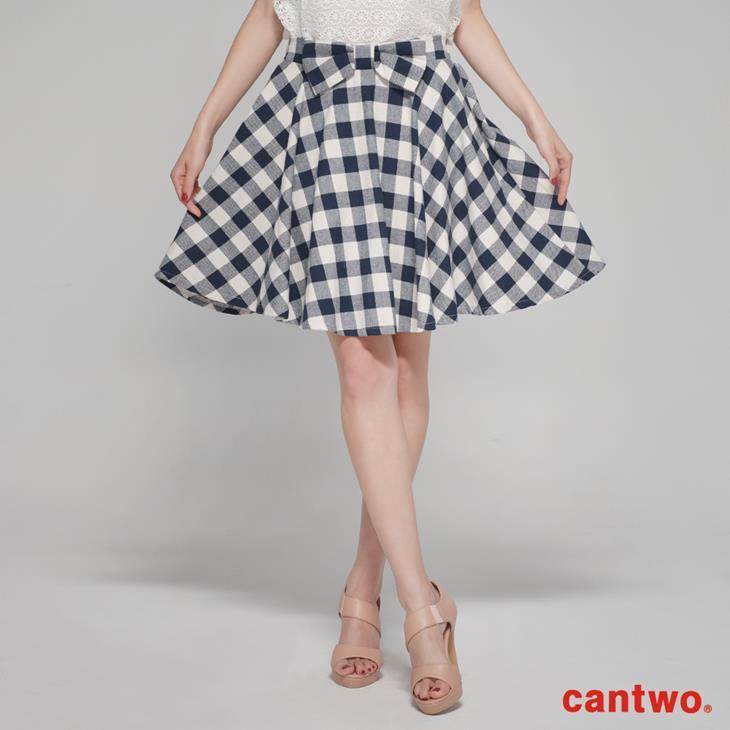 cantwo復古雙色格紋蝴蝶結短裙(共三色) 0