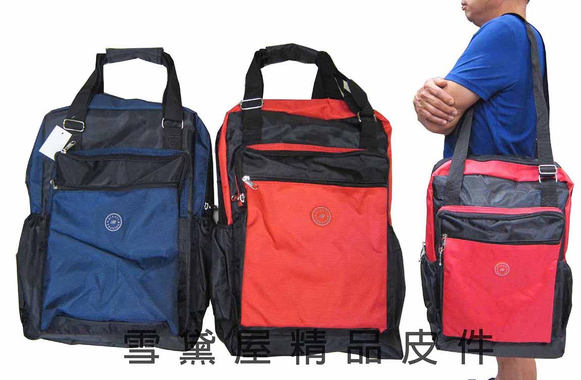 ^~雪黛屋^~biksli 手提肩背包大容量可放A4資料夾防水尼龍布 袋旅行袋手提帶可調整