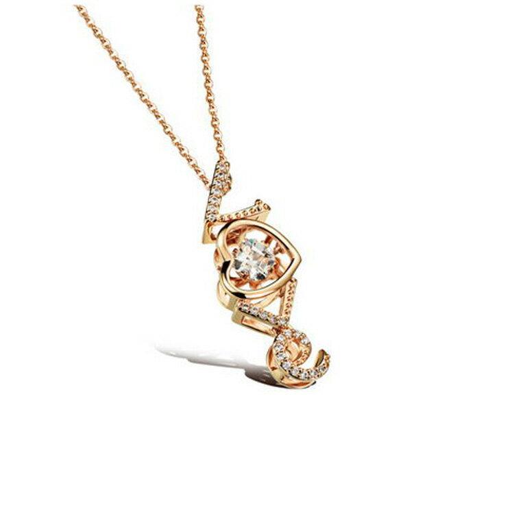 ~5折 價~ 款 精美LOVE愛心鑲鑽 女款鍍18K金鍍白金項鍊