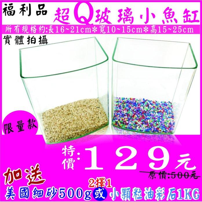 福利品 優惠價:129元【水族達人】【魚缸】《超Q玻璃小魚缸+ 美國細砂500g 或 小顆粒油彩石1KG》海灣缸 小型缸