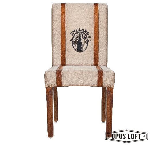 復古LOFT工業風 帆布 皮革邊 高背辦公/餐椅