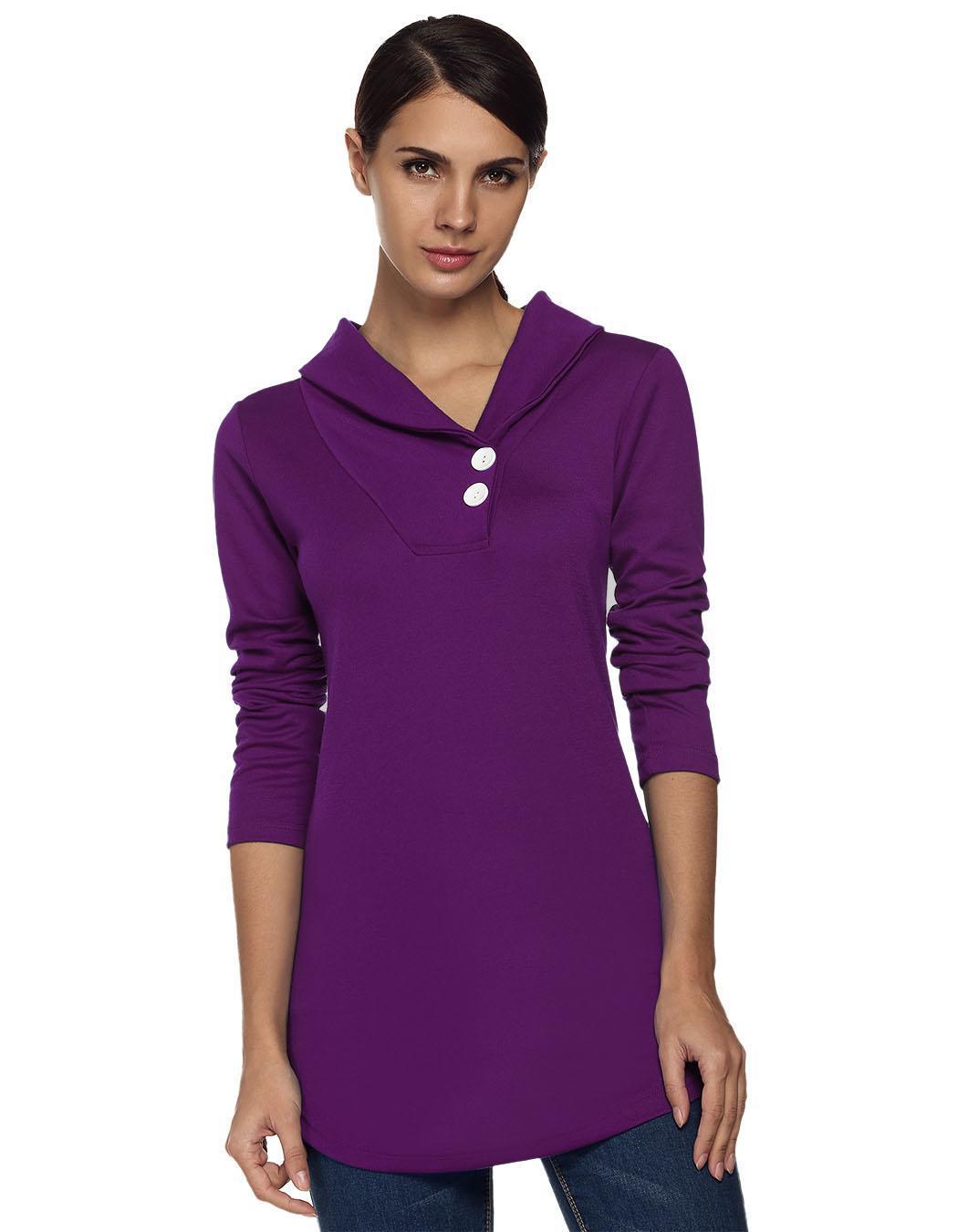 Women Shawl Collar Long Sleeve Solid Tunic Outwear Tops Blouse Coat 1