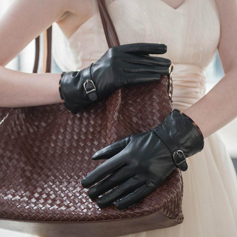 真皮手套保暖手套-羊皮加絨豹紋搭扣女手套73wm74【獨家進口】【米蘭精品】 0