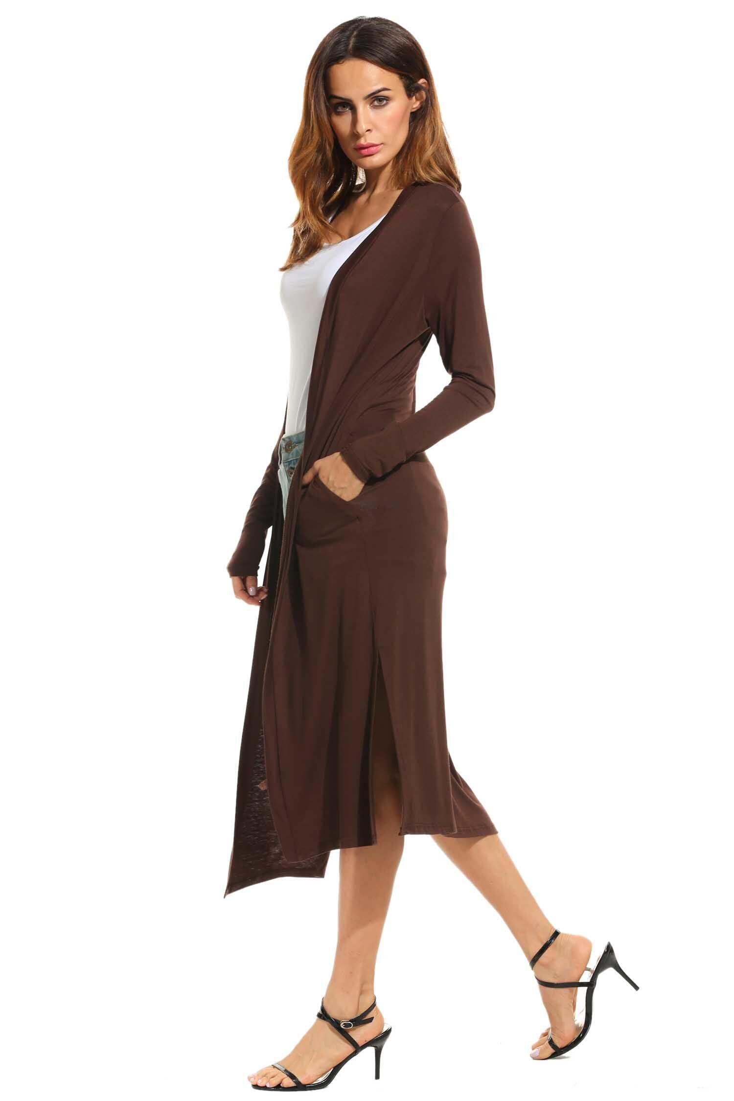 Women Casual Long Sleeve Solid Open Front Slit Long Maxi Cardigan 4