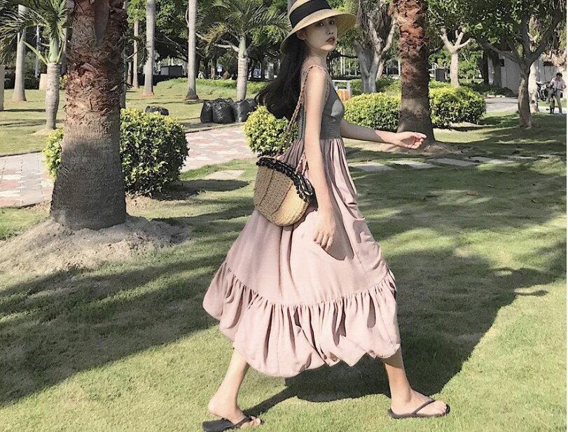 PS Mall 波西米亞吊帶長裙雪紡連身裙渡假沙灘裙 洋裝【T2397】 2