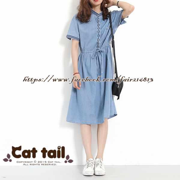 《貓尾巴》LZ-03094小清新刺繡抽繩牛仔短袖連身裙(森林系日系棉麻文青清新)