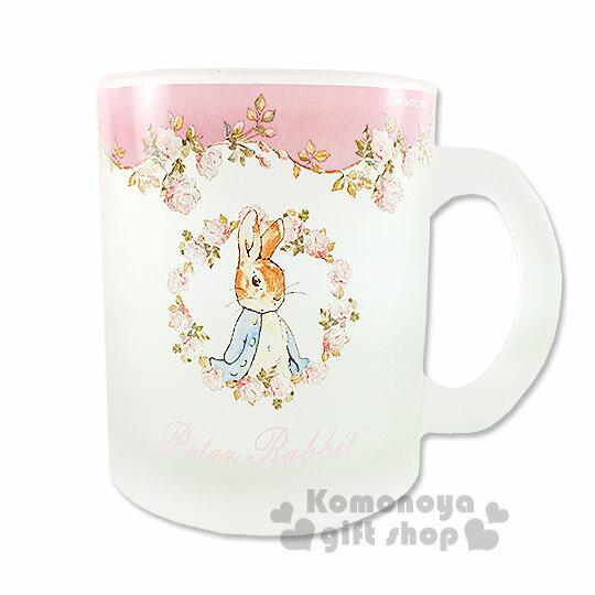 〔小禮堂〕彼得兔 玻璃馬克杯《霧面.透明.粉玫瑰花圈.350ml》