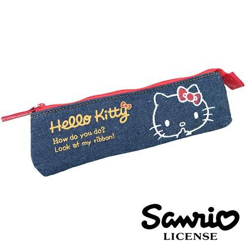 【  】Hello Kitty 凱蒂貓 牛仔立體筆袋 鉛筆盒 長型筆袋 SANRIO - 415891