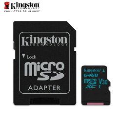 金士頓 64G Kingston Canvas Go! microSD UHS-I Class 3 U3  高速記憶卡