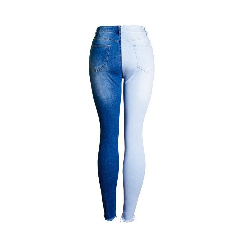 牛仔褲丹寧小腳褲-拼色破洞修身鉛筆褲女長褲73wx6【獨家進口】【米蘭精品】 0