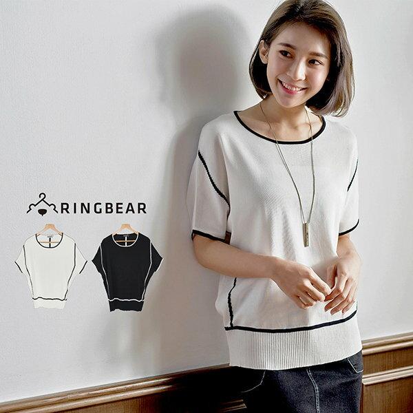加大尺碼--輕熟微甜簡約大方線條針織短袖上衣(白.黑XL-3L)-U457眼圈熊中大尺碼 0