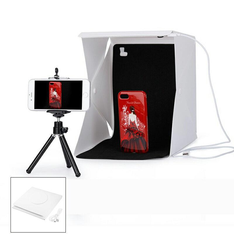 [享樂攝影] 折疊式LED柔光棚 中 30*30*30cm 攝影棚 靜物棚 極簡 輕便 商品攝影 雙色背景布