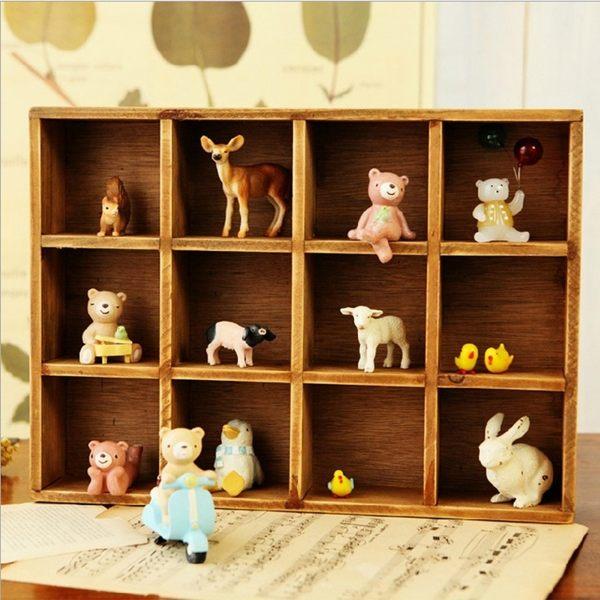 (預購)創意原木家居12格收納櫃 木頭雜物櫃 復古收納盒 雜物櫃 壁掛
