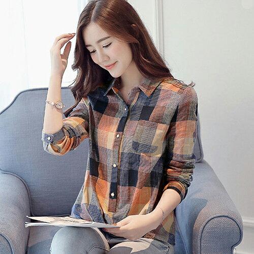 韓版格子百搭休閒襯衫 (圖片色,S~2XL) - ORead 自由風格