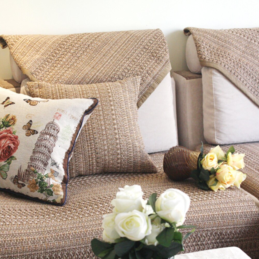 ✤宜家✤時尚舒適簡約純棉咖色防滑手工沙發墊/沙發巾