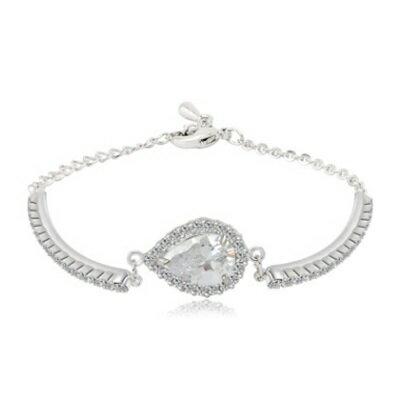 ~純銀手鍊 鍍白金鑲鑽手環~ 氣質精緻簡約情人節生日 女飾品73cv47~ ~~米蘭 ~