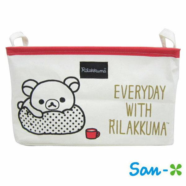 紅色款【日本進口】San-X 拉拉熊 帆布 折疊 收納籃 衣物收納 置物籃 懶懶熊 Rilakkuma - 226052