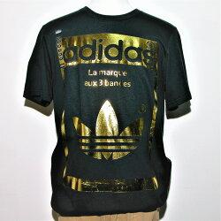 ADIDAS SUPERSTAR OG黑色/金色圖案T恤衫的男裝尺碼大號NWT,全新美國公司貨 【119 小鋪】