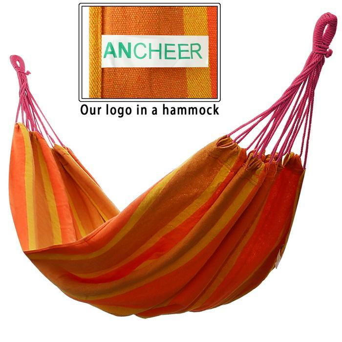 Double 2 Person Splicing Color Cotton Fabric Portable Hanging Indoor Outdoor Camping Hammock 5