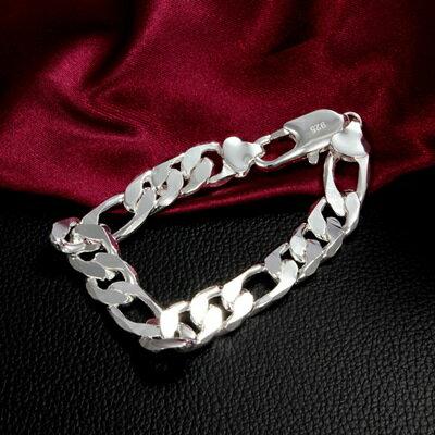 925純銀手鍊 手環 ~簡約環扣 情人節生日 男女 ^(單件^)73av187~ ~~米蘭