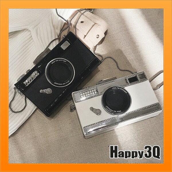 Happy Happy:相機造型包盒子包箱子包水鑽造型包硬殼包小方包手提包斜背包相機包女包-黑白【AAA3396】
