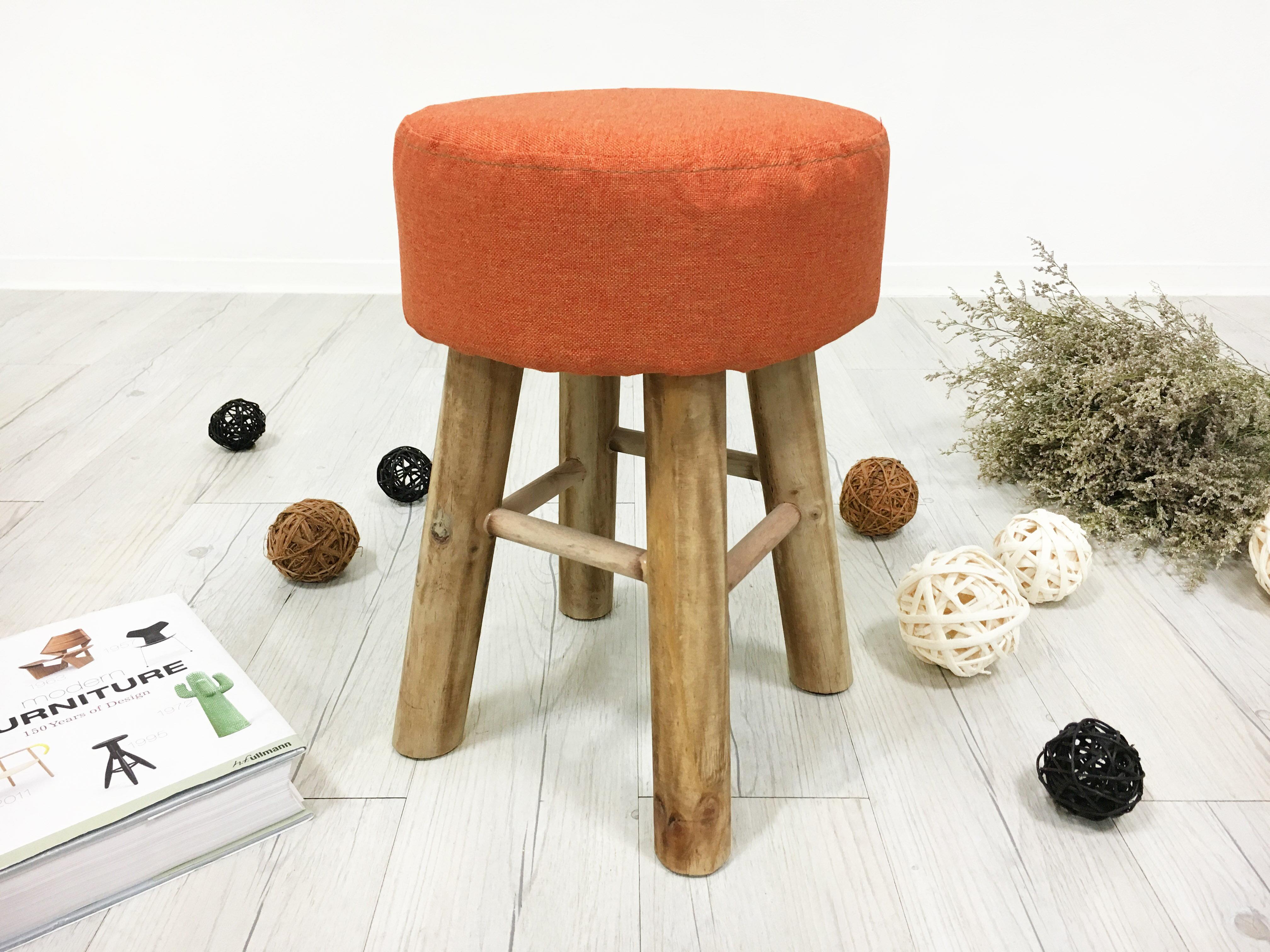 !新生活家具!《馬卡龍》橘色 圓凳 實木 亞麻布 高凳 矮凳 椅凳 穿鞋椅 腳凳 腳椅 多色可選 可拆洗