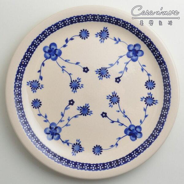 波蘭陶歐式青花系列圓形餐盤陶瓷盤菜盤點心盤圓盤沙拉盤27cm波蘭手工製
