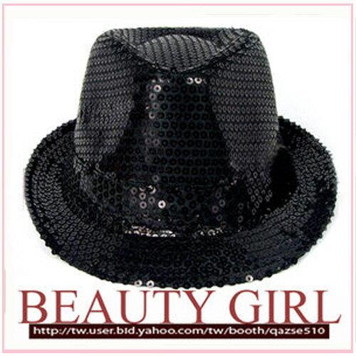 筱雅衣舖【A109】爵士風格亮片造型帽~尾牙表演萬聖節造型趴~黑色