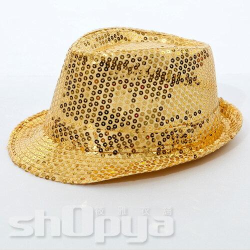筱雅衣舖【A109】爵士風格亮片造型帽~尾牙表演萬聖節造型趴~金色