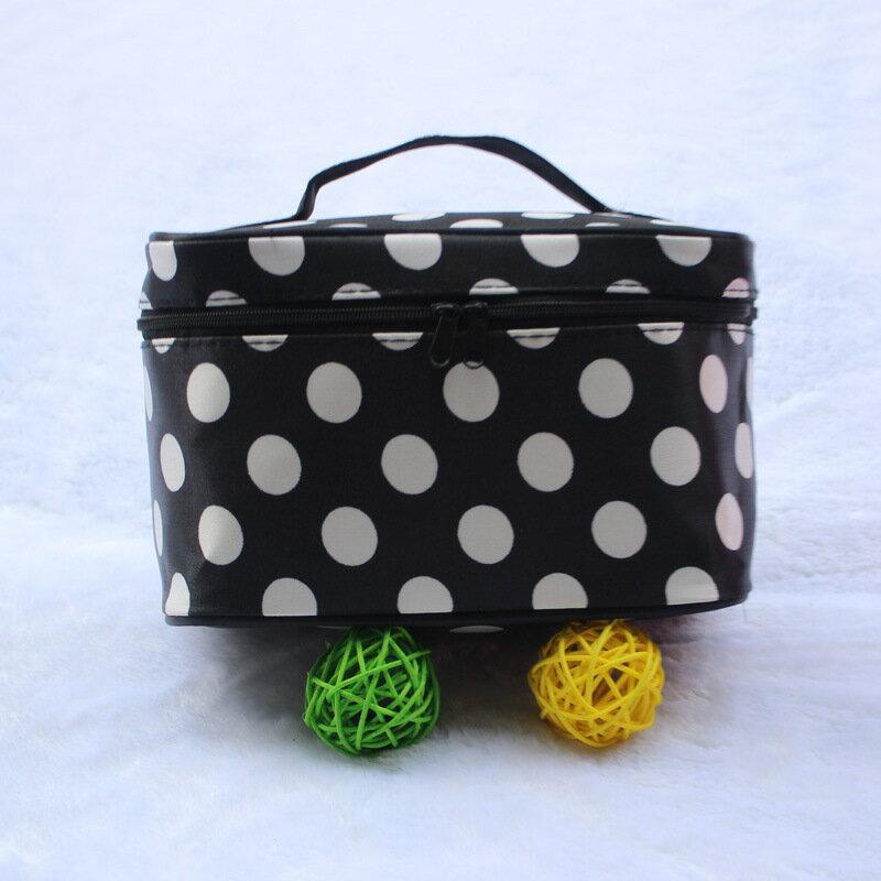 韓版新款手提四方包大容量飾品包旅行洗漱包化妝包-黑色圓點