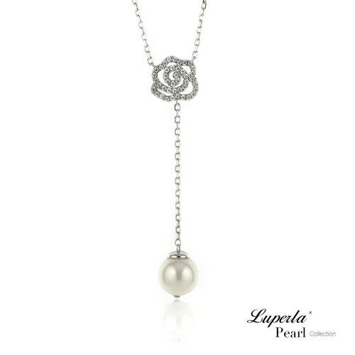 大東山珠寶 優雅白玫瑰 日本AKOYA天然海水珍珠純銀晶鑽項鍊 0