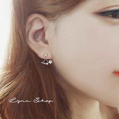 韓系飾品 璀燦水鑽垂墜星星耳釘耳環耳夾 耳飾 2色 一對 ~OE~0415~LYNNSHO