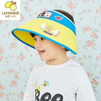 Lemonkid◆飛翔長頸鹿星星點點立體刺繡字母大帽沿透氣兒童空頂遮陽帽-藍黃色