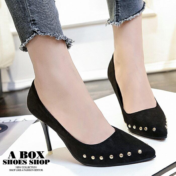 【KSA21】9CM細高跟鞋 尖頭包鞋 個性時尚金屬鉚釘絨面 黑色