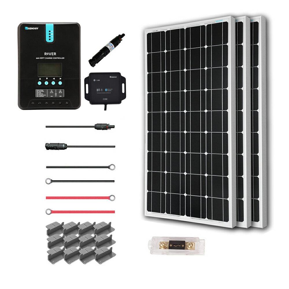 Renogy 300 Watt 12 Volt Off Grid Solar Premium Kit with Monocrystalline Solar Panel and 40A MPPT Rover Controller 0