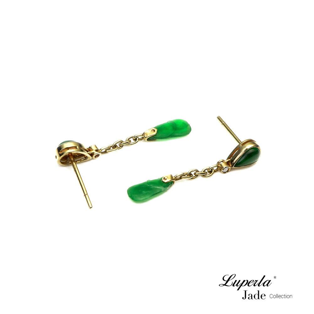 大東山珠寶 迷人律動 天然緬甸老坑玻璃種A貨翡翠 頂級真鑽14K金耳環 4