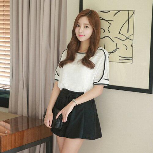 YJY韓風黑白配色棉麻衣褲裙套裝^~F5380^~~全 ~  好康折扣