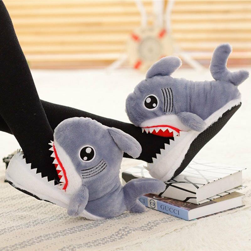 Sharks趣味鯊魚鞋咬腳腳造型保暖室內拖鞋居家鞋