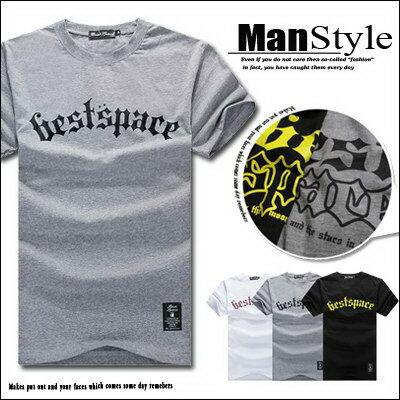 2件399~ManStyle潮流 素面歌德字母布標短袖T恤男~ 全店消費滿399~0703