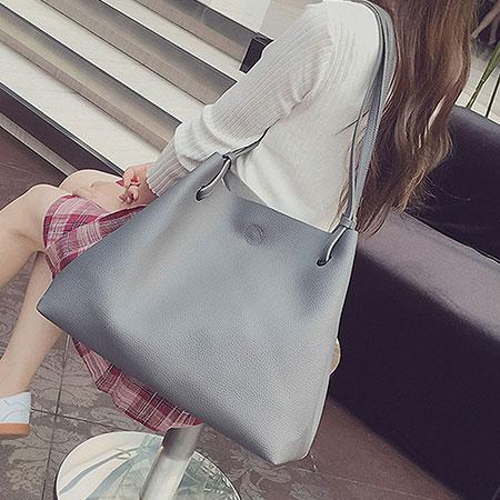 肩背包  簡約素色實用大容量子母包側背包【O3138】☆雙兒網☆ 6