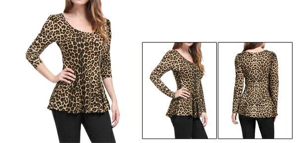 106cb8d02e1fc4 Unique Bargains Women's Long Sleeves Scoop Neck Leopard Prints Peplum Shirt  7