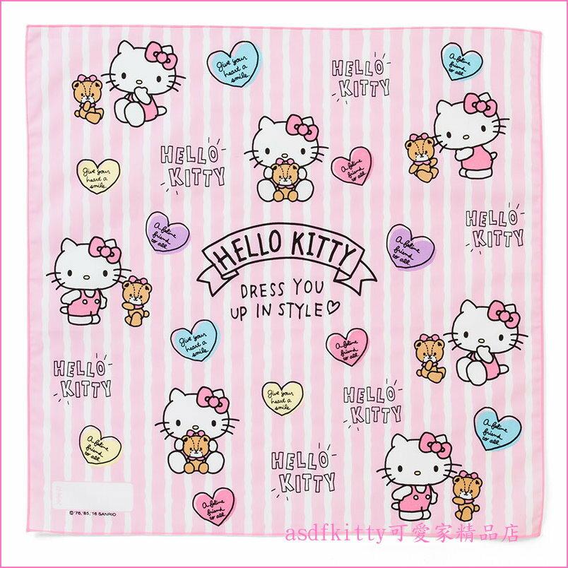 asdfkitty可愛家~KITTY泰迪熊粉條紋桌墊 餐墊 桌巾 大手帕~43^~43公分